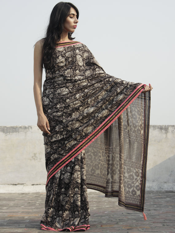 Kashish Black Ivory Hand Block Printed Cotton Saree With Peach Border & Tassels - S031702298