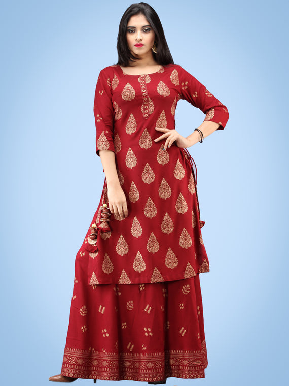 Aalia - Rustic Red Gold Block Print Kurta & Skirt Dress With Tassels - D380FYYY