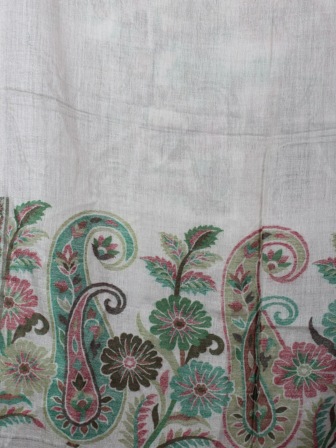White Green Pure Wool With Palla Border Cashmere Stole from Kashmir - S6317095