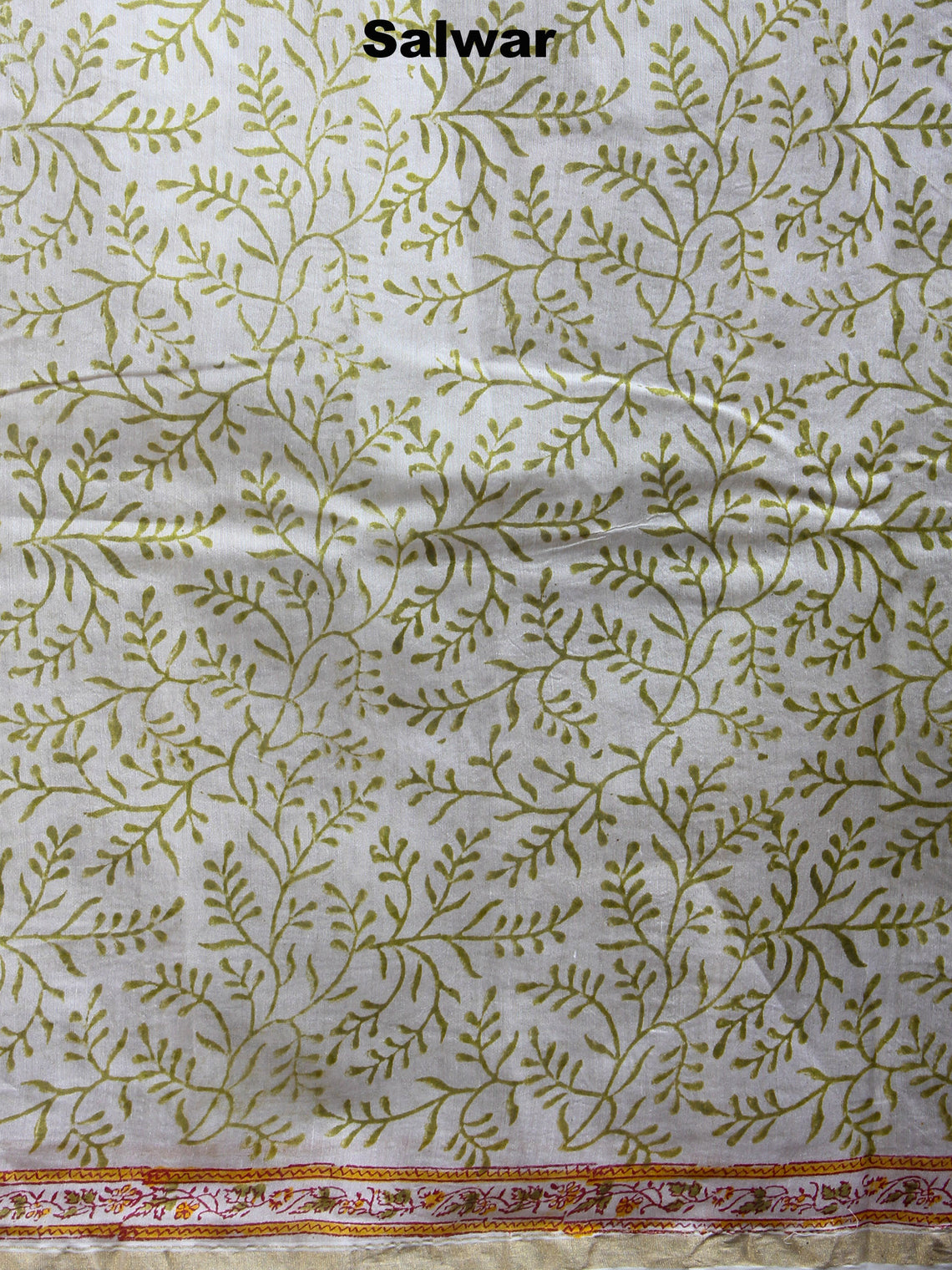 Ivory Yellow Green Hand Block Printed Chanderi Kurta-Salwar Fabric With Chanderi Dupatta - S1628033