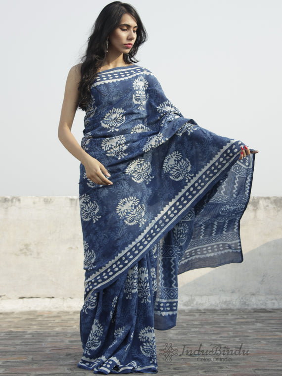 Indigo Ivory Hand Block Printed Cotton Saree In Natural Colors - S031702300