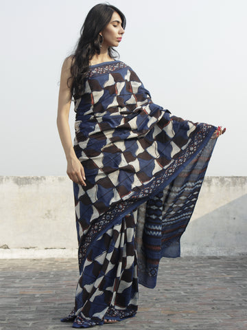 Indigo Brown Rust Ivory Hand Block Printed Cotton Saree In Natural Colors - S031702301