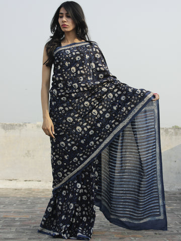 Indigo Ivory Black Hand Block Printed Cotton Saree In Natural Colors - S031702302