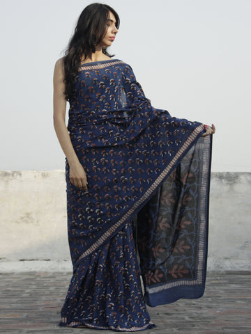 Indigo Rust Black Ivory Hand Block Printed Cotton Saree In Natural Colors - S031702307