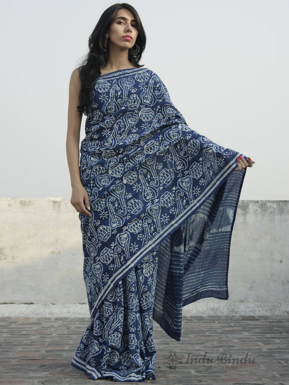 Indigo Ivory Hand Block Printed Cotton Saree In Natural Colors - S031702309