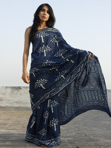 Indigo Ivory Hand Block Printed Cotton Saree In Natural Colors - S031702346
