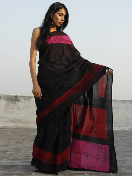 Black Red Pink Hand Batik & Block Printed Cotton Saree - S031702349