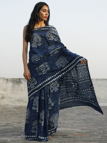 Indigo Ivory Hand Block Printed Cotton Saree In Natural Colors - S031702351