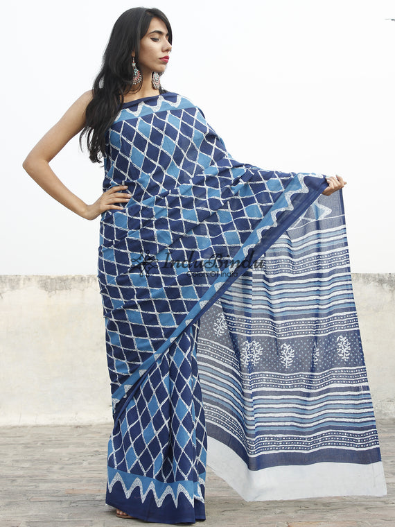 Indigo Blue Ivory Hand Block Printed Cotton Saree In Natural Colors - S031702355