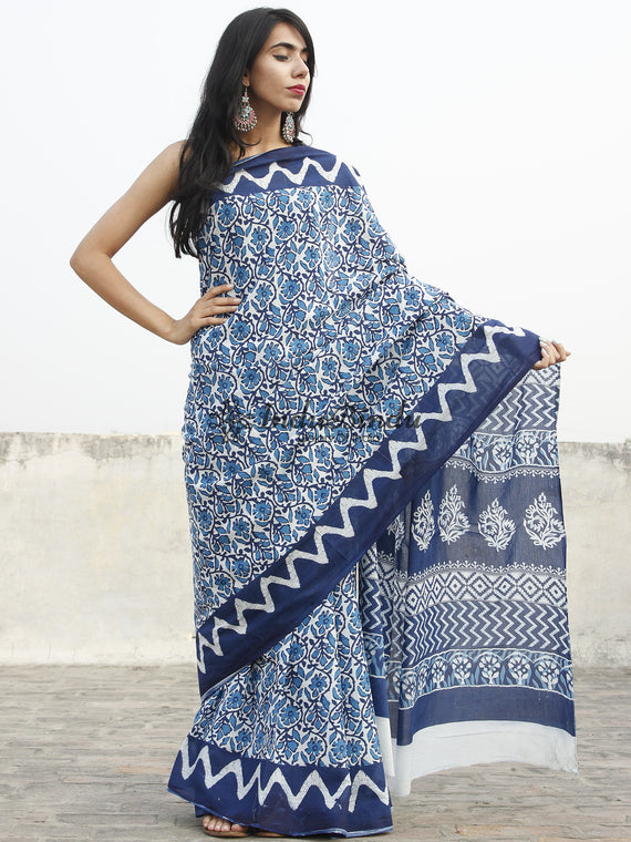 Indigo Blue White Hand Block Printed Cotton Saree In Natural Colors - S031702356