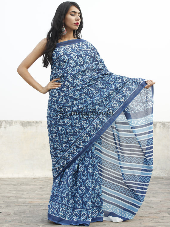 Indigo Blue White Hand Block Printed Cotton Saree In Natural Colors - S031702358