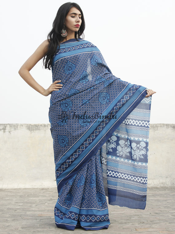 Indigo Blue White Hand Block Printed Cotton Saree In Natural Colors - S031702360