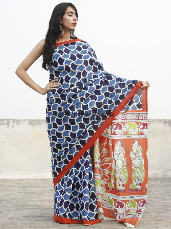Indigo Blue White Red Hand Block Printed Cotton Saree With Kalamkari Printed Pallu - S031702361