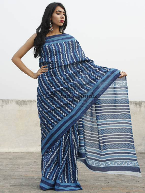 Indigo Blue White Hand Block Printed Cotton Saree In Natural Colors - S031702363