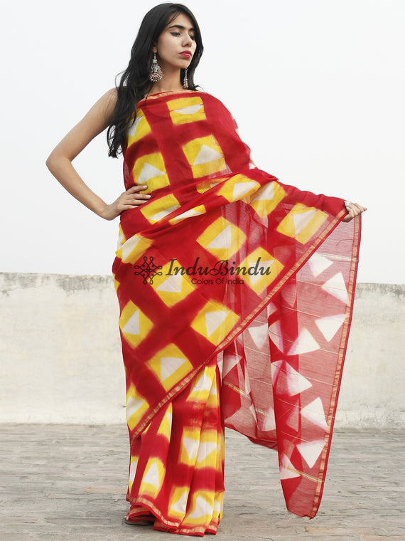 Brick Red Yellow White Hand Block Printed Chanderi Saree - S031702366
