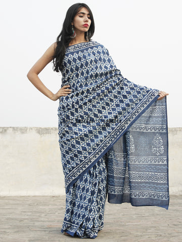 Indigo Blue White Hand Block Printed Cotton Saree In Natural Colors - S031702367
