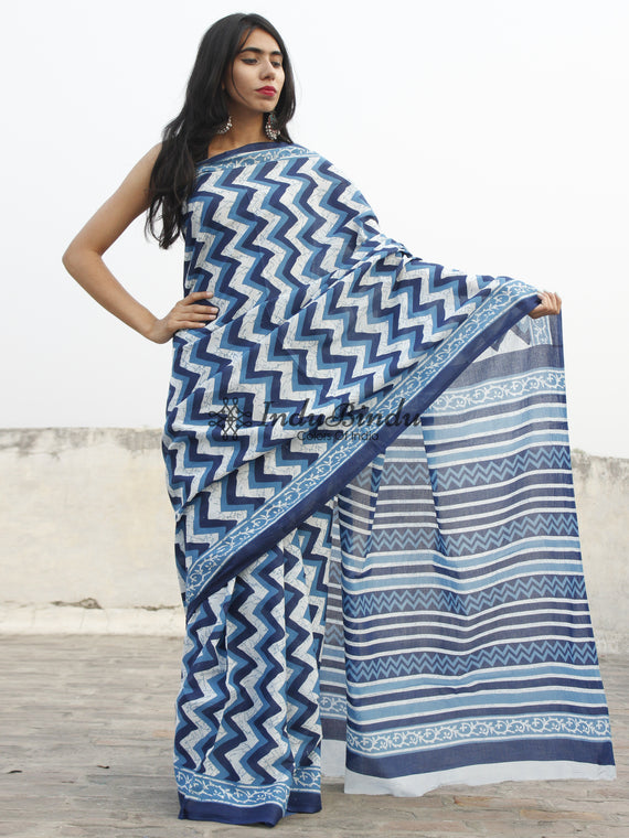 Indigo Blue White Hand Block Printed Cotton Saree In Natural Colors - S031702368