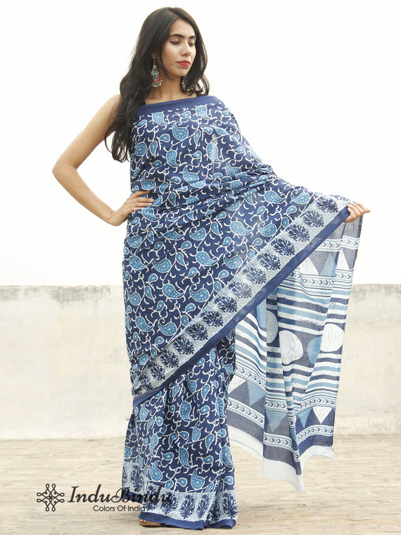 Indigo Blue White Hand Block Printed Cotton Saree In Natural Colors - S031702370