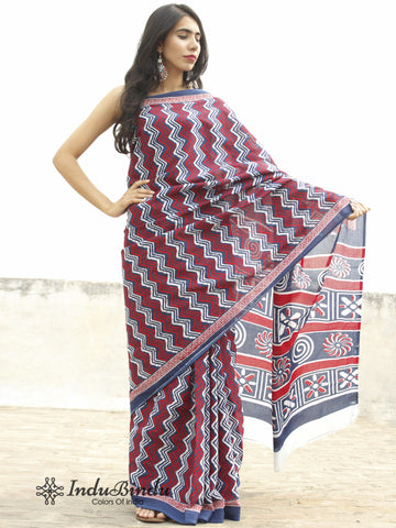 Indigo Maroon White Hand Block Printed Cotton Saree In Natural Colors - S031702371
