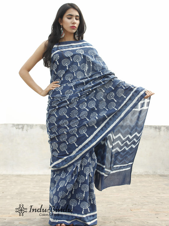 Indigo White Hand Block Printed Cotton Saree In Natural Colors - S031702373