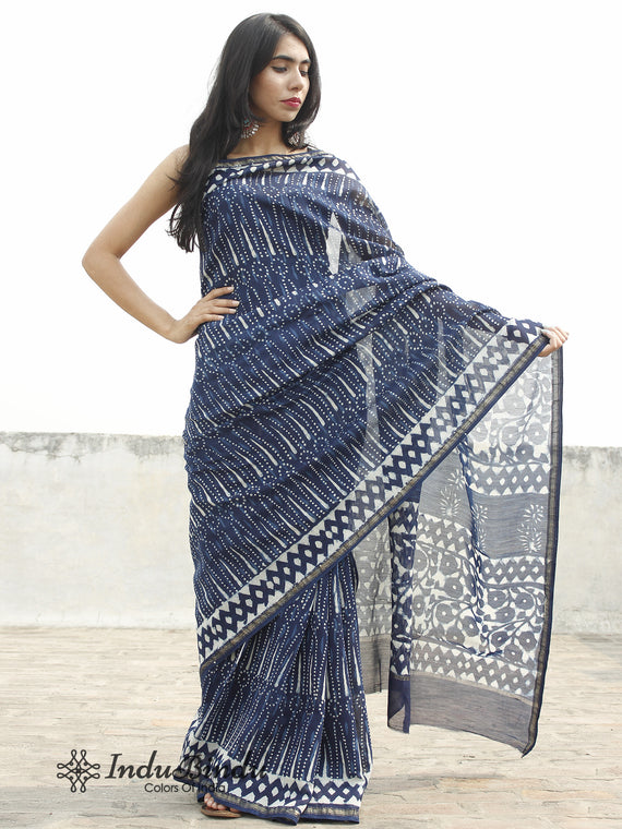 Indigo Blue White Hand Block Printed Chanderi Saree in Natural Colors - S031702374