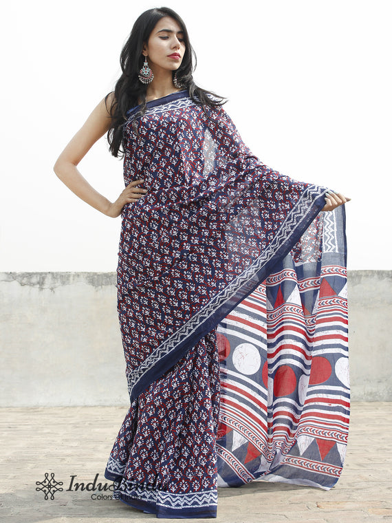 Indigo White Red Hand Block Printed Cotton Saree In Natural Colors - S031702376