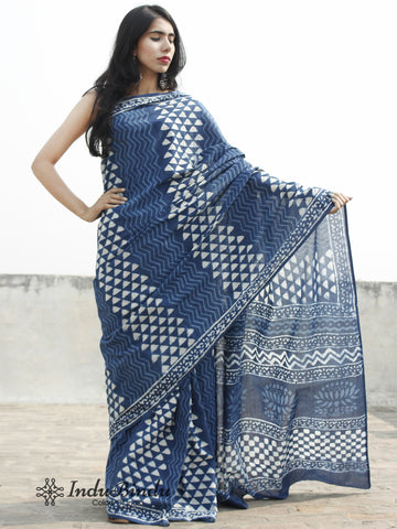 Indigo White Hand Block Printed Cotton Saree In Natural Colors - S031702377