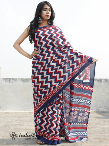 Indigo White Red Hand Block Printed Cotton Saree In Natural Colors - S031702381