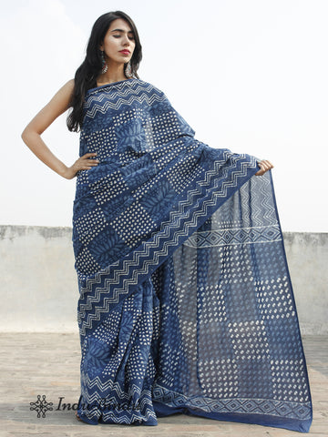Indigo Ivory Blue Hand Block Printed Cotton Saree In Natural Colors - S031702385