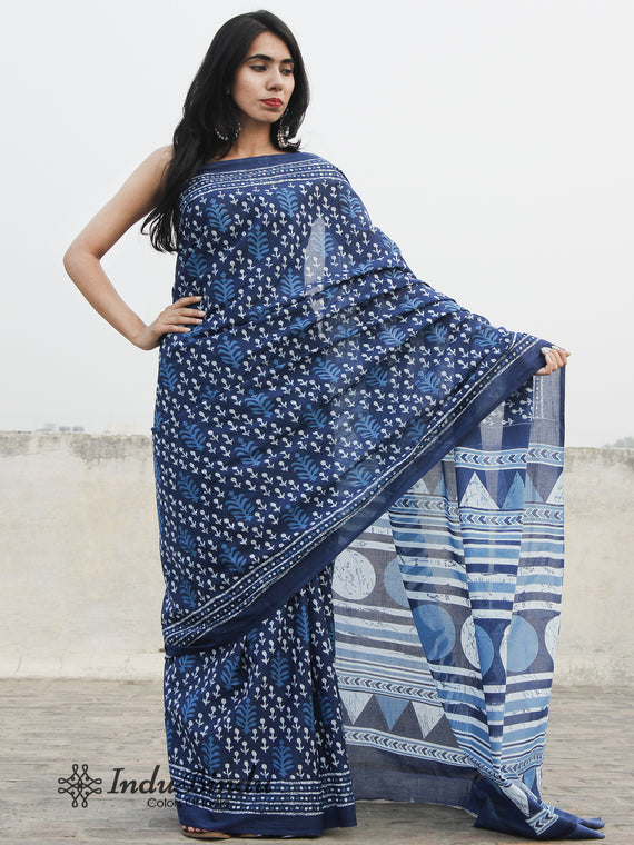 Indigo Blue White Hand Block Printed Cotton Saree In Natural Colors - S031702386