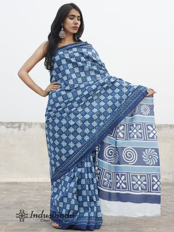 Indigo Blue White Hand Block Printed Cotton Saree In Natural Colors - S031702387