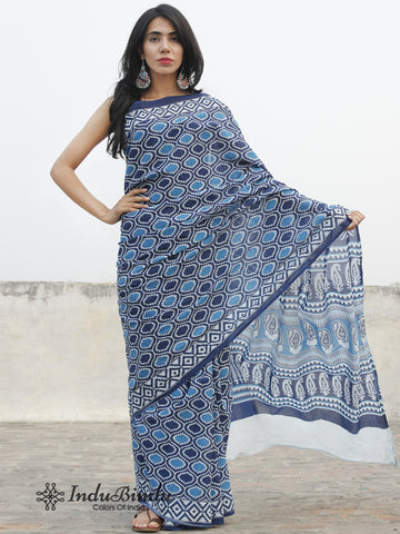 Indigo Blue White Hand Block Printed Cotton Saree In Natural Colors - S031702388