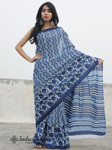 Indigo Blue White Hand Block Printed Cotton Saree In Natural Colors - S031702393