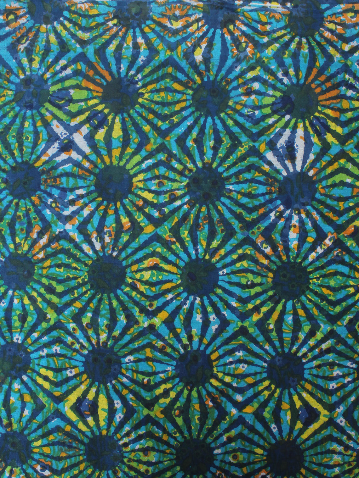 Indigo Green Blue Hand Block Printed Cotton Cambric Fabric Per Meter - F0916415