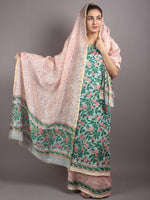 Green Pink Hand Block Printed Chanderi Kurta-Salwar Fabric With Chanderi Dupatta - S1628034