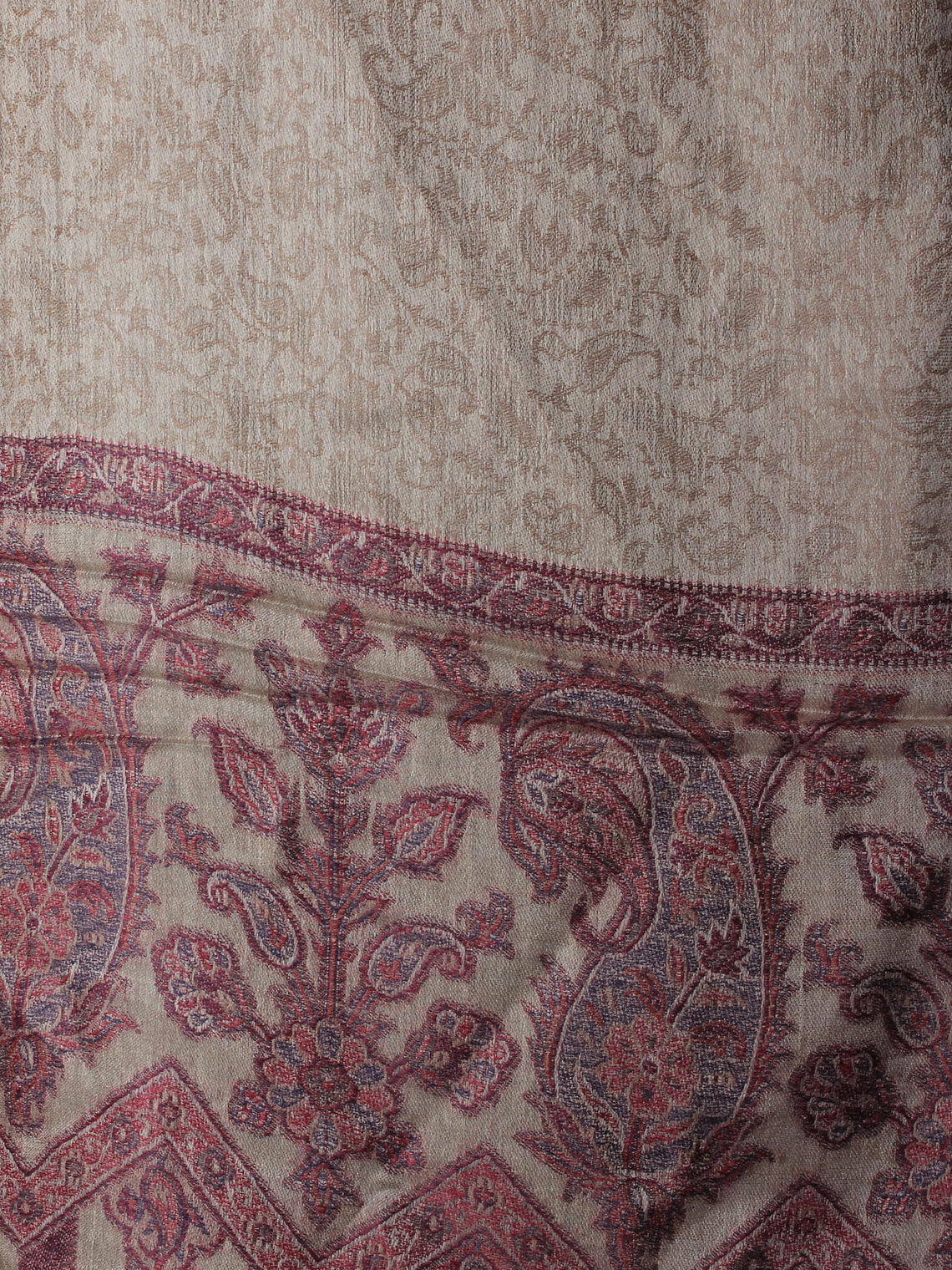 Sandy Brown Pure Wool With Palla Border Self Design Cashmere Stole from Kashmir - S6317096