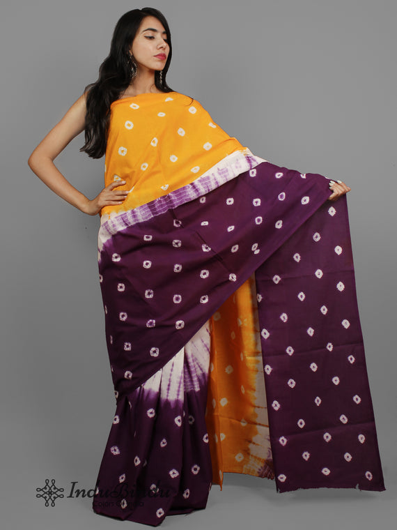 Orange Dark Purple White Hand Shibori Dyed Cotton Saree - S031702406