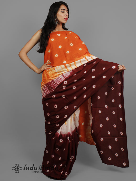 Red Brown Ivory Hand Shibori Dyed Cotton Saree - S031702407