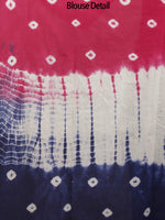 Red Indigo Ivory Hand Shibori Dyed Cotton Saree - S031702412