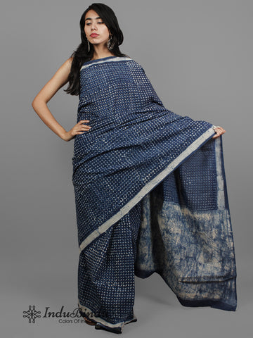 Indigo Ivory Hand Block Printed Cotton Saree in Natural Colors - S031702433