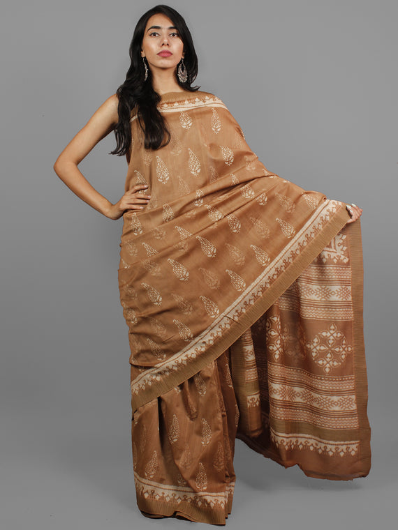 Brown Ivory Chanderi Silk Hand Block Printed Saree With Ghicha Border - S031702436