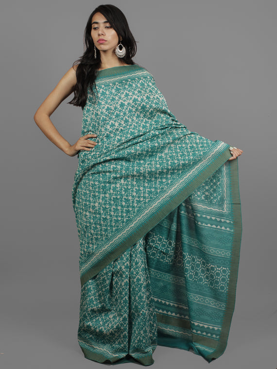 Green Ivory Chanderi Hand Block Printed Saree With Ghicha Border - S031702448