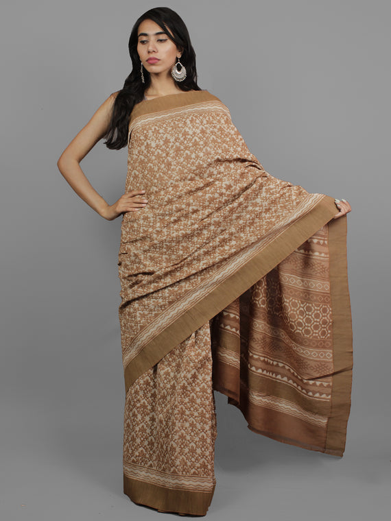 Brown Ivory Chanderi Hand Block Printed Saree With Ghicha Border - S031702450