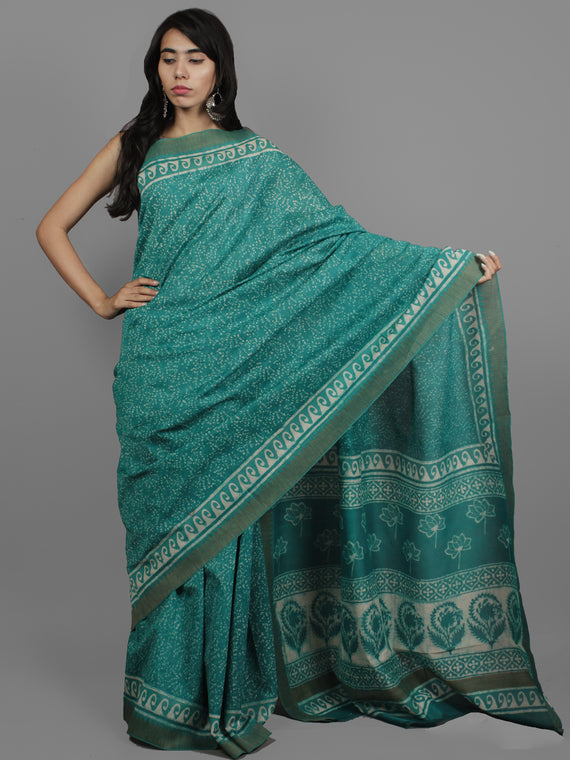 Green Ivory Chanderi Hand Block Printed Saree With Ghicha Border - S031702452