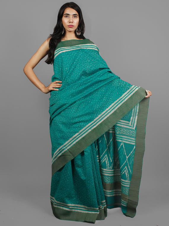 Green Ivory Chanderi Hand Block Printed Saree With Ghicha Border - S031702455