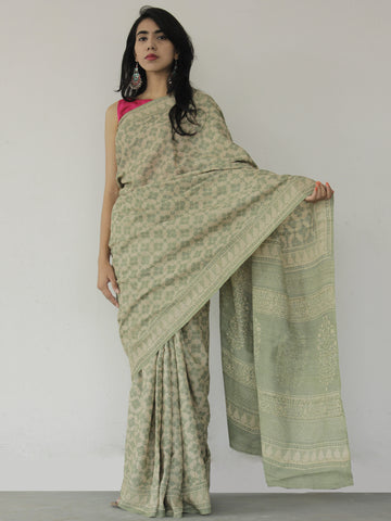 Tussar Handloom Silk Hand Block Printed Saree in Pistachio Green Ivory - S031702532