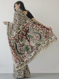Beige Maroon Green Hand Block Printed Cotton Saree With Kalamkari Printed Pallu - S031702421