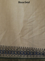 Beige Black Indigo Green Khadi Hand Block Printed Saree in Natural Dyes - S031702475