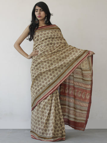 Beige Maroon Black Khadi Hand Block Printed Saree in Natural Dyes - S031702480