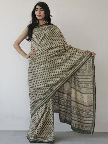 Beige Green Black Khadi Hand Block Printed Saree in Natural Dyes - S031702484
